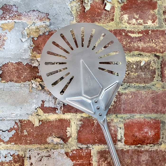Gi Metal Azzurra Stainless Steel Small Perforated Pizza Peel 120cm